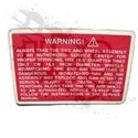 DECAL, TIRE WARNING